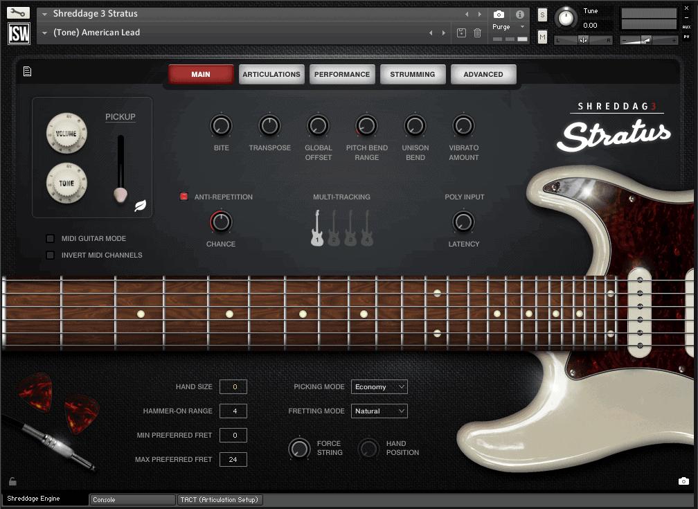 shreddage 3 stratus vst au aax virtual guitar instrument for kontakt. Black Bedroom Furniture Sets. Home Design Ideas